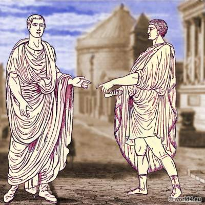 Roman costume history. Roman Senator toga. Roman Emperor.