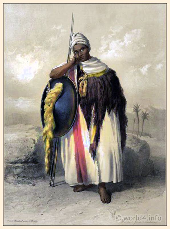 Traditional Arabian Warrior costume and clothing. Middle East Ethiopia dress. Egyptian national costumes. Oriental Album.