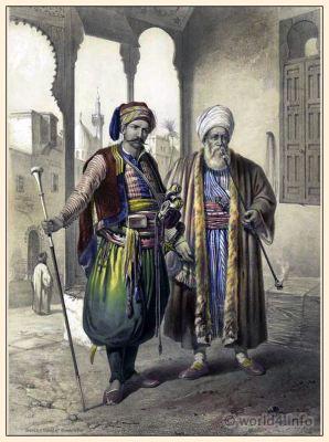 Bedouin merchant. Traditional Arabian clothing. Ottoman empire. Janissary costume. Egyptian national costumes.