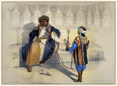 Arab Sheikh costume. Middle East traditional clothing. Oriental illustration by Emile Prisse d'Avennes. Arabian Turban