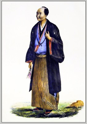 Traditional Japanese mens clothing. Antique Kimono costumes.