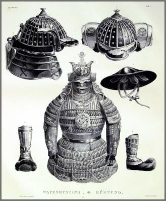 Japanese samurai armor with helmet, breastplate and boots