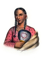 Rant-Che-Wai-Me. Female Flying Pigeon. American natives costumes, illustrations and portraits. Indian Tribes of North America.