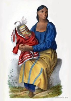 Chippeway. widow, American natives costumes, Indian Tribes, North America. Tribal