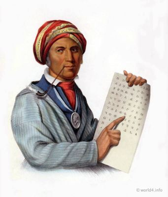 SE QUO YA, George Guess inventor of the Cherokee Alphabet. Indigenous American peoples. Native Americans costumes.