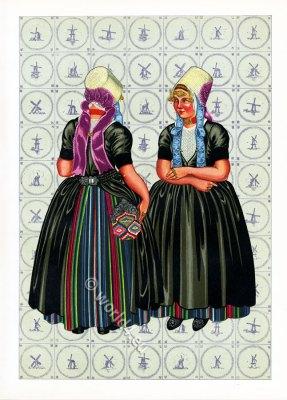 Walcheren traditional clothing. Dutch national costumes.