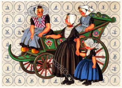 Netherlands traditional costumes. Women and Children folk dresses.
