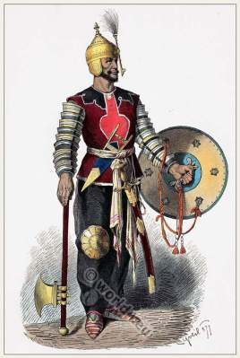 Middle ages Persian warrior costume. Asian army military dresses.