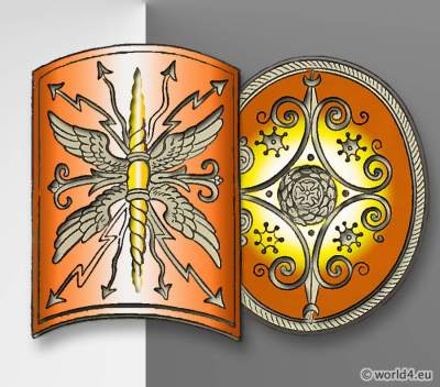 Ancient Roman Scutum Shields. Roman Army Weapons, Legionary Soldier cuirass. Aspidai Shield