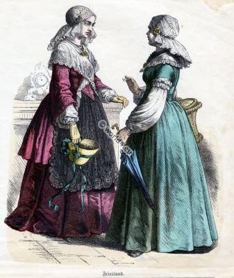 Traditional Friesland clothing. Dutch costumes. Historical Netherlands folk dresses.