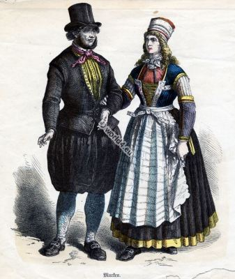 Traditional Dutch Marken Costumes. Historical Netherlands folk dresses. Dutch women and mens clothing