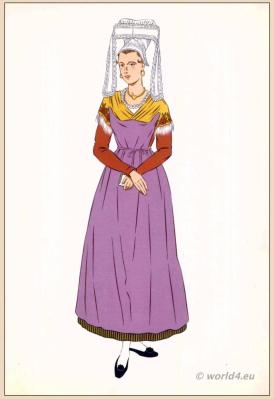 Traditional French costumes. Woman national folk clothing. Poichoir Fashion Print.