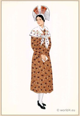 Traditional French Champagne costumes. Woman national folk clothing. Poichoir Fashion Print.