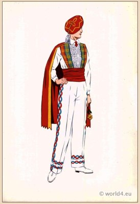 Traditional French Basque Dancer costume. Mens national folk clothing Poichoir Fashion Print.