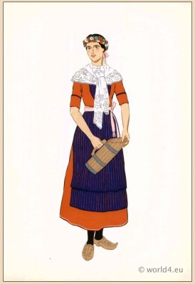 Traditional French Basque Woman costumes. France national folk clothing with Flower Crown and wooden shoes. Poichoir Fashion Print.