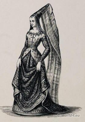 Middle ages costumes. Mary of Burgundy, Duchess of Burgundy