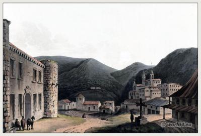 Historic spanish landscape. Villafranca del Bierzo Castile and León. Villa Francornm. Comarca El Bierzo. Duke of Alva. Dominican convent