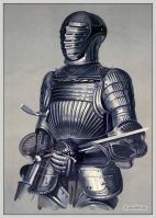 French knight armor. Middle ages cuirass, sword. Dr. Meyrick's collection.