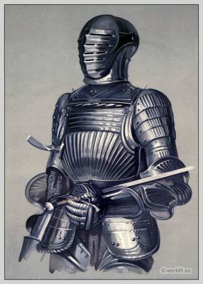 Gigantic warrior. Bosworth Field. Military Middle age. Weapons. Knight armour.