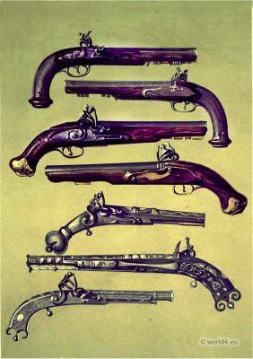 Pair of pistols which belonged to Emperor Napoleon I., Bonaparte. Sir Walter Scott's volunteer pistols. Pistol which belonged to Claverhouse. Old pistol by Champbell of Doune. Pistol which belonged to Sir Walter Scott.