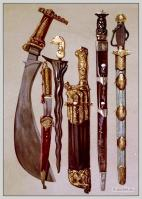 A Polygar's knife. A Persian dagger and sheath. A malay Kris. Case of hunting-knives, or Couteaux de chasse. Rob Roy's dirk by Andrea Ferrara. A Tartar sword in brass.mounted shagreen scabbard.