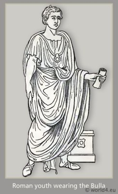 Roman costume. Bulla. Ancient Roman fashion.