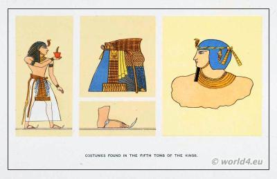 Ancient Egypt fashion. Blue Crown. Pharaoh clothing. King headdress, skirt, sandals