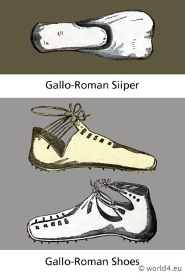 Ancient Gallic costumes and clothing. Gallo - Roman shoes and Siiper