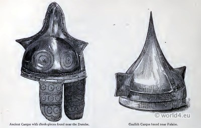 Celtic Helmets. Ancient Gaulish warrior casque with cheek-pieces.