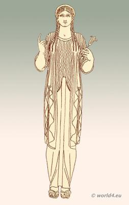 Ancient Greek female cloth, Greece long-sided Ionic chiton with wide sleeves