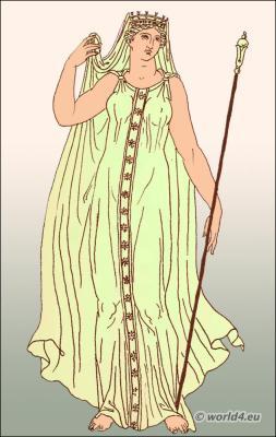 Ancient Greece goddess Demeter in clasp-fastened chiton. Greek costume kredemnon