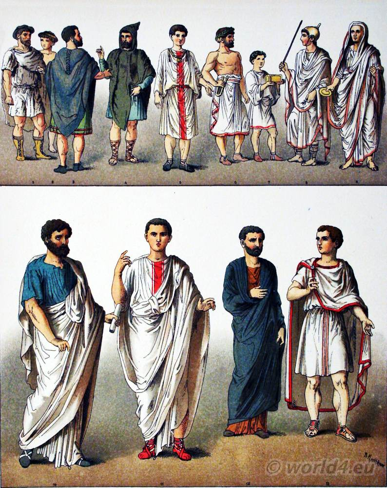 Ancient, Roman, Costumes, Peasants, Noble Man, Sacrificial Assistants, Priest of Jupiter, High Priest, Senator, Equestrian,