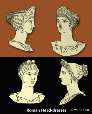 ancient, roman, mitre, infula, petasus, pileus, head-dresses