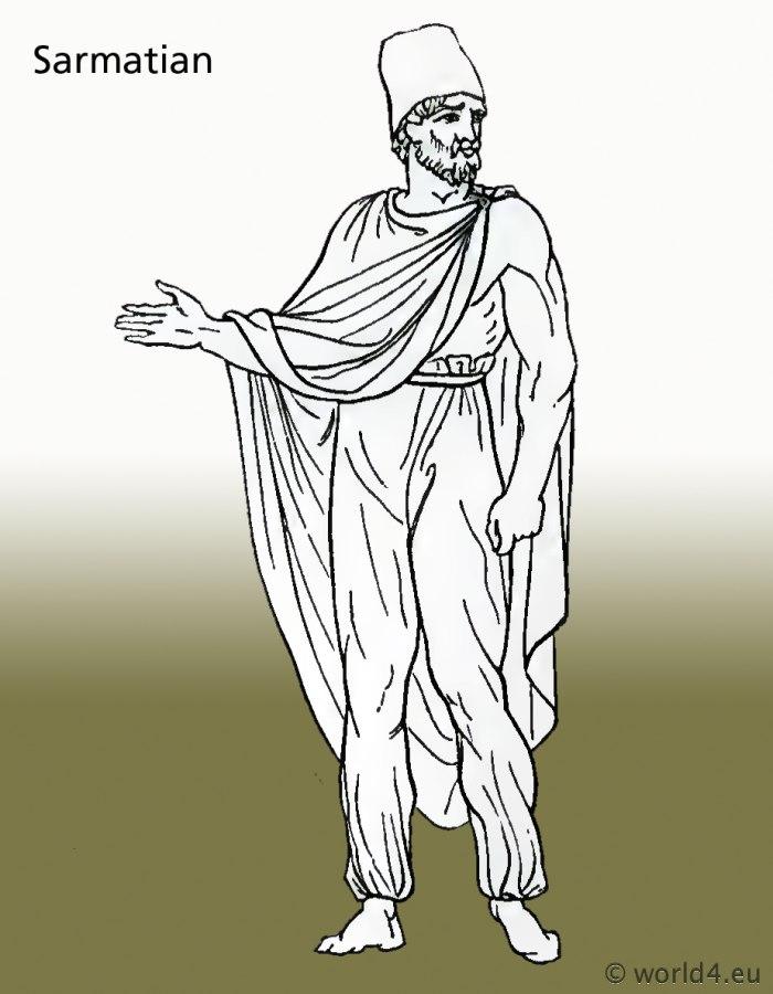 Ancient, Sarmatian, costumes, clothing