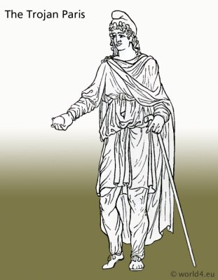 The Trojan Paris. Ancient Trojan costumes and clothing. Antiquity Troy dresses