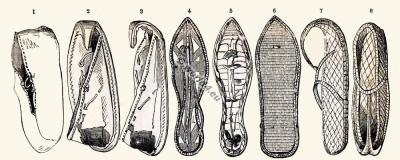 Ancient Egypt shoes and sandals. Types of Egypt foot wear.