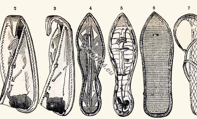 Ancient Egypt shoes and sandals fashion. Antique Costume History