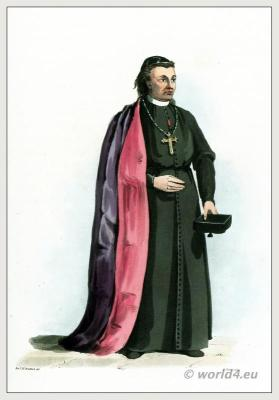 Traditional Portuguese Bishop costume. Ecclesiastical clothing. Purple mantle of silk, lined with crimson.
