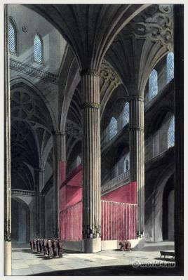 Architecture Salamance Spain. Catedral Vieja de Santa María Romanesque, Gothic style. Steel engraving. The Peninsula War.