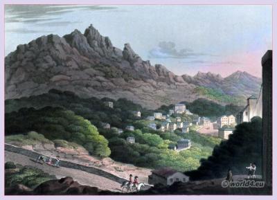 Sintra,Portugal,Topography,Landscape,UNESCO, World Heritage,Old, Moorish, city,Iberian, Peninsula, engraving