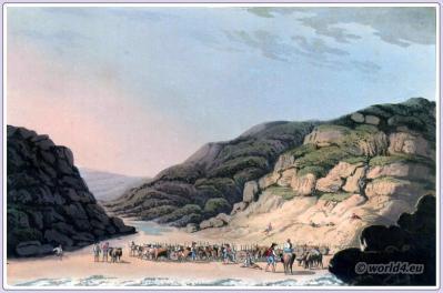 Creek of Maceira. Historical Portugese landscape. Peninsula war