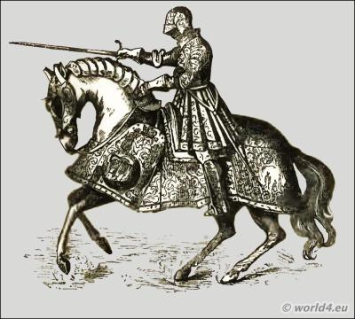 England Renaissance Medieval knights weapons and armor. King Henry VIII. in armour on horse