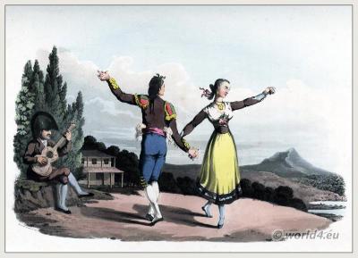 Traditional Spanish national costumes. Andalusian Fandango and Boleras costumes. Seguidillas Madrilenian and Leonese.