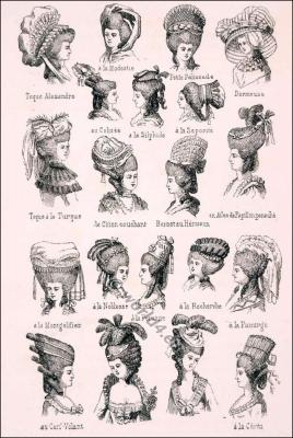 Various Rococo headdresses and hairstyles. How to style baroque hair. French Coiffures 18th century.