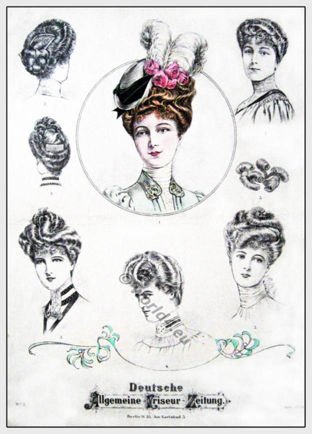Hairstyle Belle Époque. Fin de siècle. Art nouveau Hair fashion and Head-dresses.