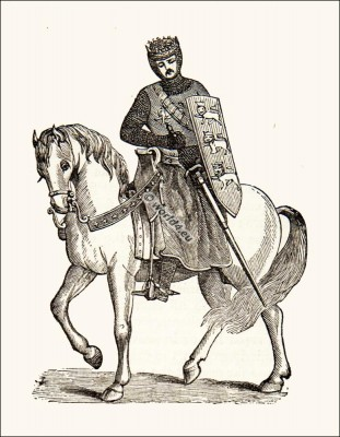 England Medieval King knight on horse. Armed with sword weapons and armor. Hammer of the Scots, Longshanks