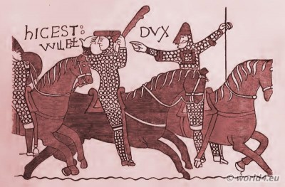 Bayeux Tapestry. William the Conqueror. Norman conquest of England. Middle Ages chivalry armed horses. William II.