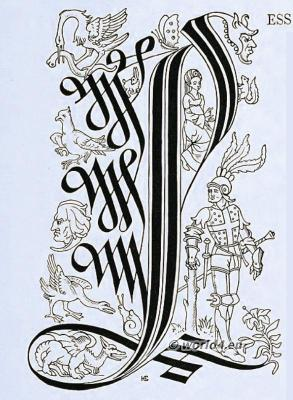 Initial letter, Medieval Illustration, Typography,