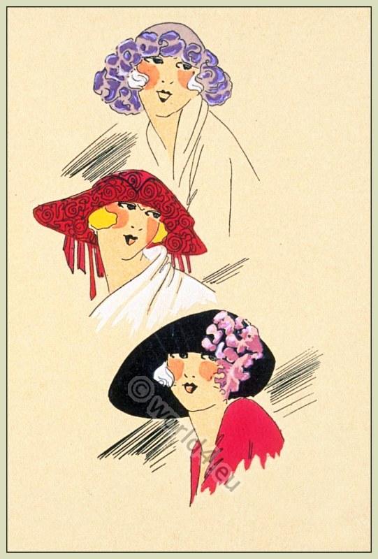 Art Deco Beret, Bonnets. French Hats Fashion, Spring 1922. Chapeaux du Très Parisien.
