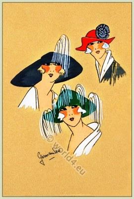 Aristocratie, Chapeaux, Très Parisien, Art-deco, flapper, roaring twenties, fashion,